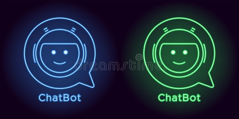 Neon Chat Bot in blue and green color stock images