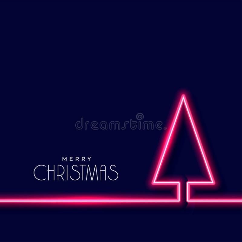 Free Neon Christmas Tree On Dark Blue Background Stock Photos - 133193533
