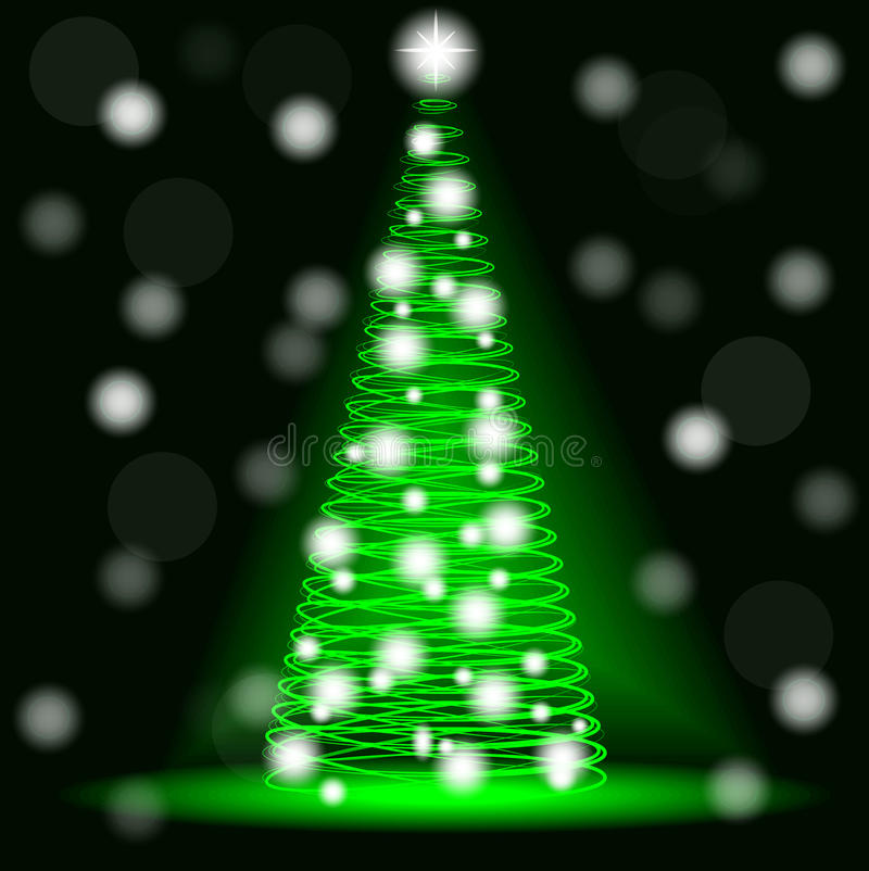 Neon Christmas tree from spirals. Blur, bokeh. stock illustration