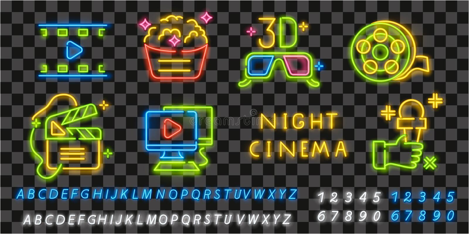 Neon Cinema icons. Icon from cinema. Movie neon sign. Film, Popcorn, 3D glasses, Tickets, 4k film and Play icon. Vector royalty free illustration