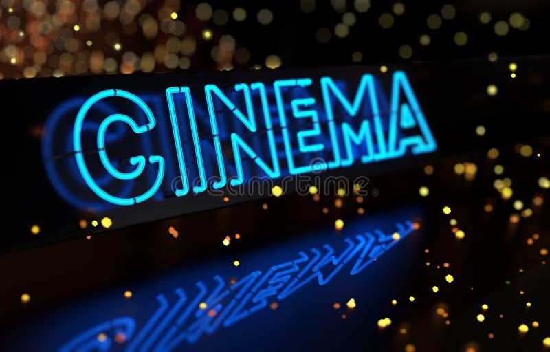 Neon Cinema Sign. On dark blurred background stock photography