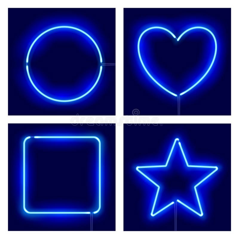 Neon circle, heart, square and star on dark background. Vector realistic different shape blue neon frames. royalty free illustration
