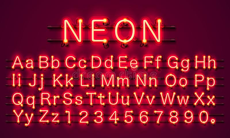 Neon city color red font. English alphabet sign. Neon city color red font. English alphabet and numbers sign. Vector illustration vector illustration