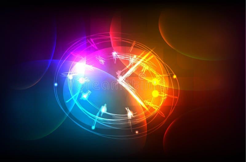 Neon clock background stock illustration