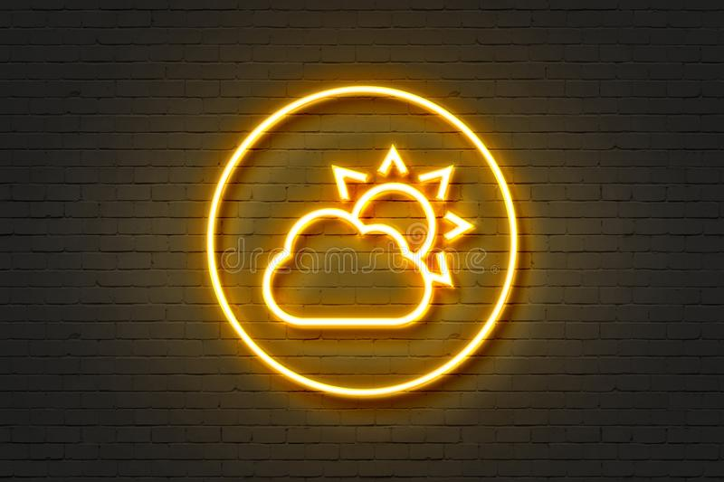 Neon cloud sun stock illustration