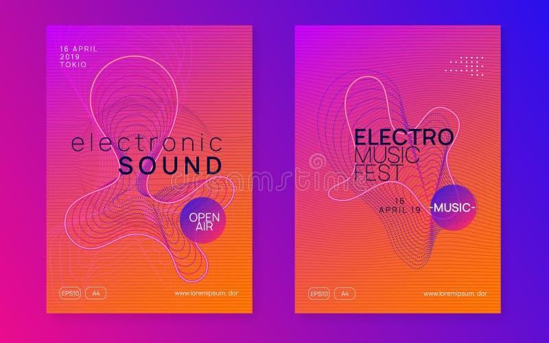 Neon club flyer. Electro dance music. Trance party dj. Electronic sound fest. Techno event poster. Dj flyer. Bright concert banner set. Dynamic gradient shape royalty free illustration