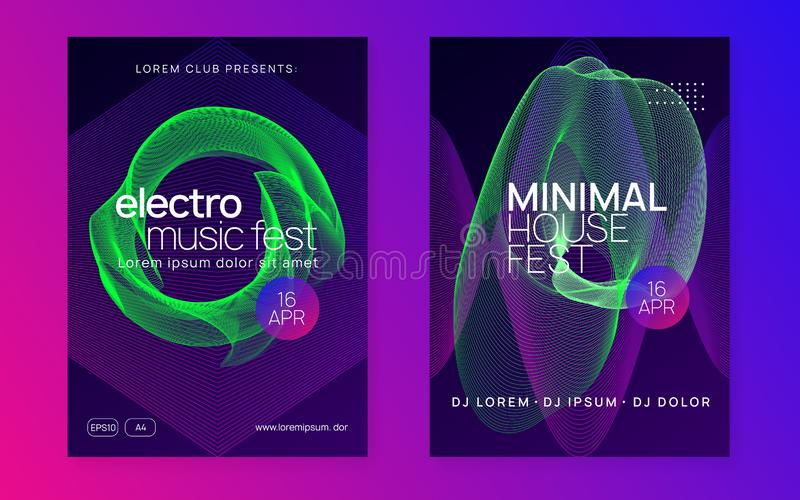 Neon club flyer. Electro dance music. Trance party dj. Electronic sound fest. Techno event poster. Electro event. Bright discotheque brochure set. Dynamic royalty free illustration