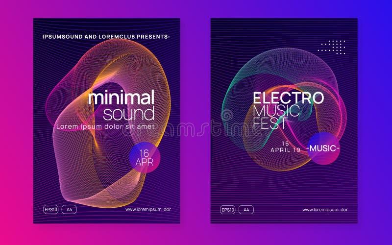 Neon club flyer. Electro dance music. Trance party dj. Electronic sound fest. Techno event poster. Dj flyer. Commercial show magazine set. Dynamic gradient stock illustration