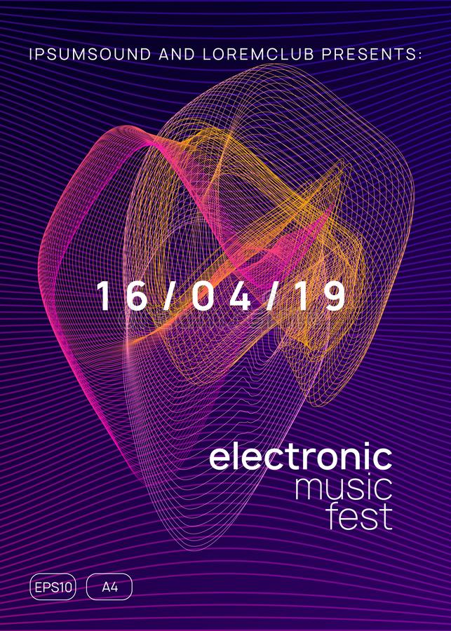 Neon club flyer. Electro dance music. Trance party dj. Electronic sound fest. Techno event poster. Electronic party. Cool discotheque brochure concept. Dynamic vector illustration