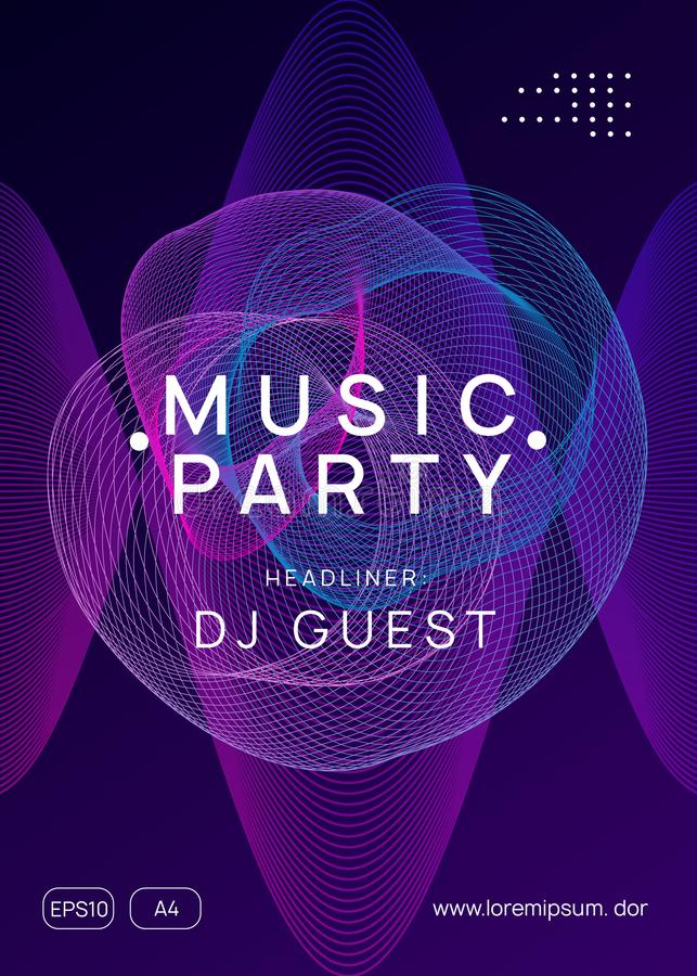 Neon club flyer. Electro dance music. Trance party dj. Electronic sound fest. Techno event poster. Club flyer. Cool show cover design. Dynamic gradient shape vector illustration