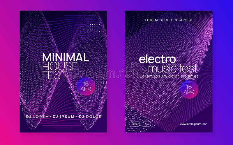 Neon club flyer. Electro dance music. Trance party dj. Electronic sound fest. Techno event poster. Music fest. Creative discotheque brochure set. Dynamic stock illustration