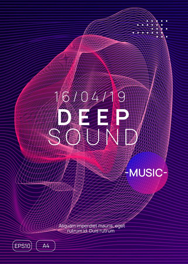 Neon club flyer. Electro dance music. Trance party dj. Electronic sound fest. Techno event poster. Trance party. Curvy show cover concept. Dynamic gradient stock illustration