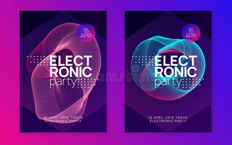 Neon club flyer. Electro dance music. Trance party dj. Electronic sound fest. Techno event poster. Electronic party. Curvy show cover set. Dynamic gradient stock illustration