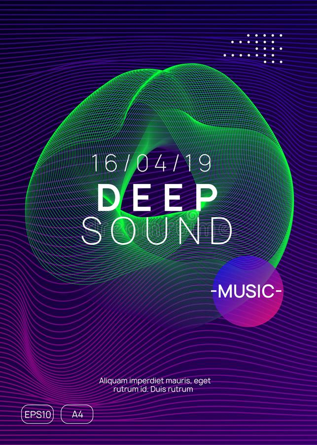 Neon club flyer. Electro dance music. Trance party dj. Electronic sound fest. Techno event poster. Dj event. Dynamic gradient shape and line. Trendy discotheque stock illustration