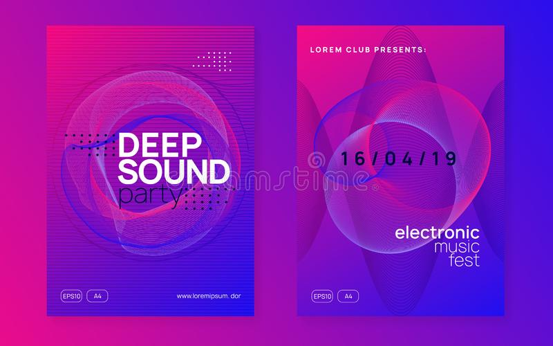 Neon club flyer. Electro dance music. Trance party dj. Electronic sound fest. Techno event poster. Dj party. Dynamic gradient shape and line. Minimal vector illustration