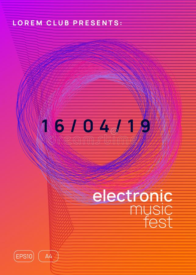 Neon club flyer. Electro dance music. Trance party dj. Electronic sound fest. Techno event poster. Music flyer. Dynamic gradient shape and line. Abstract show stock illustration