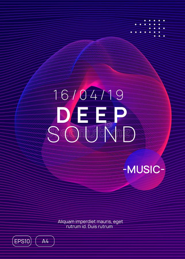 Neon club flyer. Electro dance music. Trance party dj. Electronic sound fest. Techno event poster. Trance event. Dynamic gradient shape and line. Geometric show stock illustration