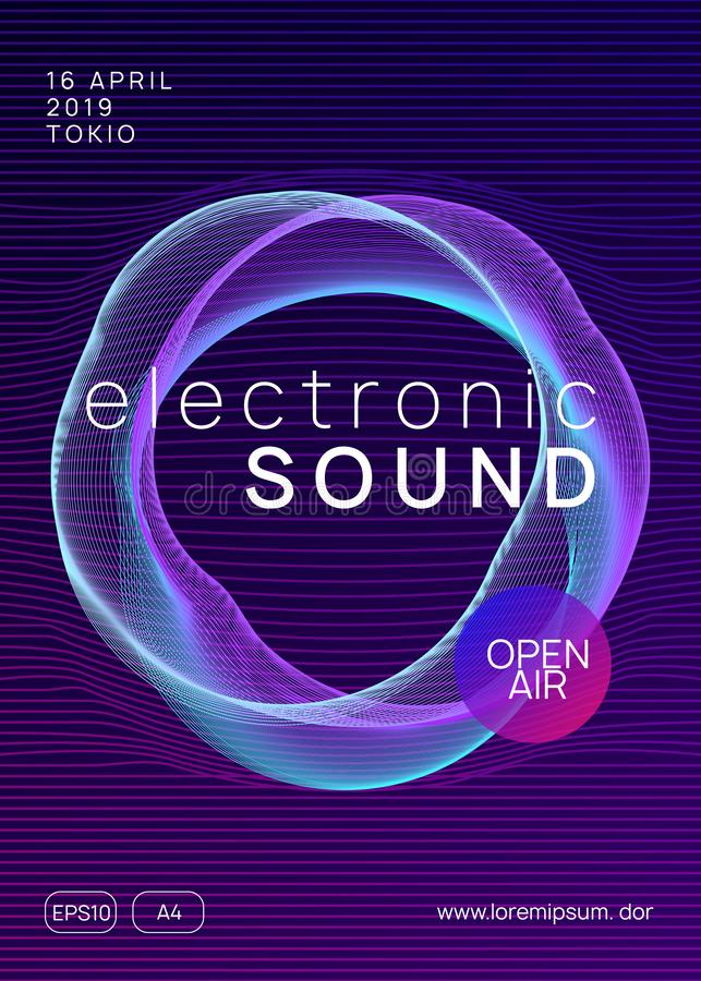 Neon club flyer. Electro dance music. Trance party dj. Electronic sound fest. Techno event poster. Techno event. Dynamic gradient shape and line. Abstract show royalty free illustration