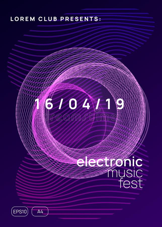 Neon club flyer. Electro dance music. Trance party dj. Electronic sound fest. Techno event poster. Dance flyer. Dynamic gradient shape and line. Digital show vector illustration