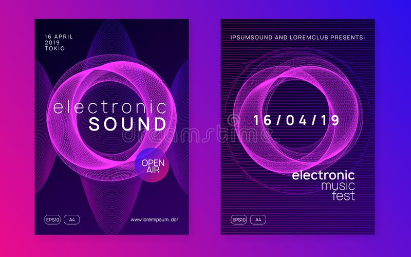 Neon club flyer. Electro dance music. Trance party dj. Electronic sound fest. Techno event poster. Techno event. Dynamic gradient shape and line. Curvy show vector illustration