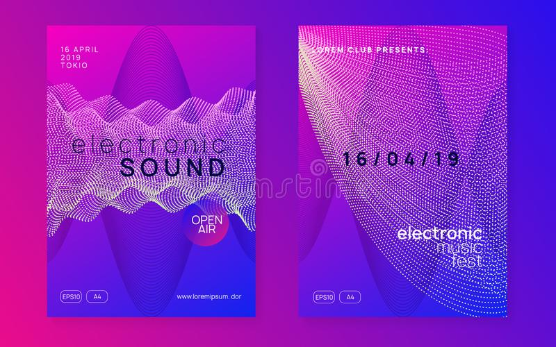 Neon club flyer. Electro dance music. Trance party dj. Electronic sound fest. Techno event poster. Electro event. Cool concert magazine set. Dynamic gradient stock illustration