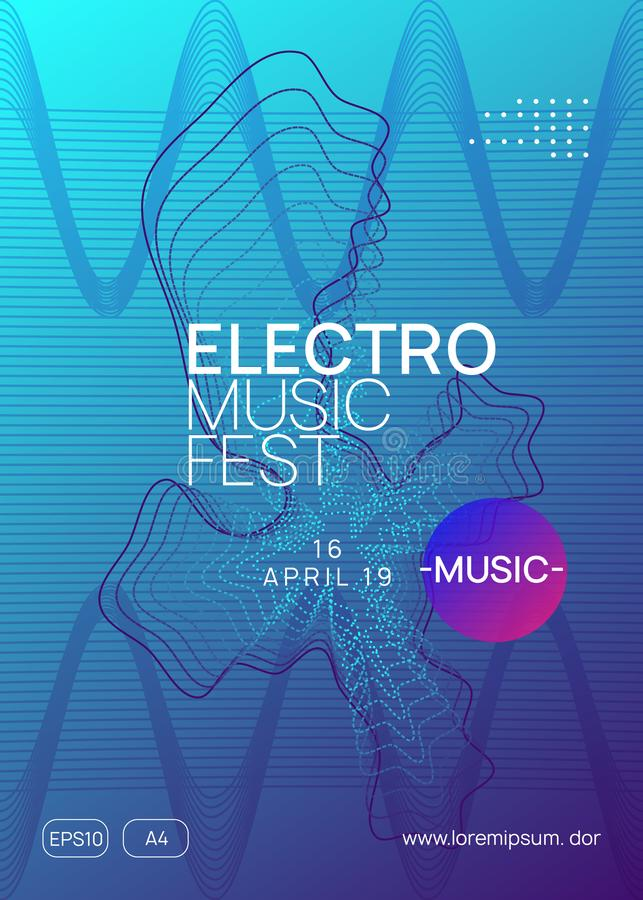Neon club flyer. Electro dance music. Trance party dj. Electronic sound fest. Techno event poster. Electro event. Dynamic gradient shape and line. Trendy vector illustration