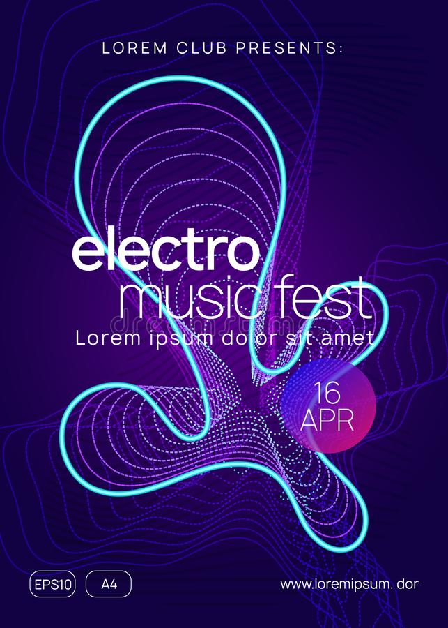 Neon club flyer. Electro dance music. Trance party dj. Electronic sound fest. Techno event poster. Electronic fest. Dynamic gradient shape and line. Commercial stock illustration