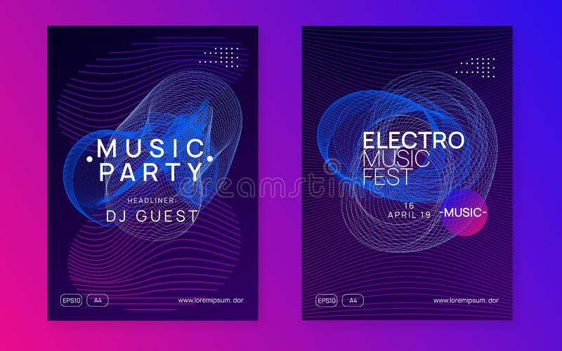 Neon club flyer. Electro dance music. Trance party dj. Electronic sound fest. Techno event poster. Club flyer. Futuristic discotheque magazine set. Dynamic stock illustration