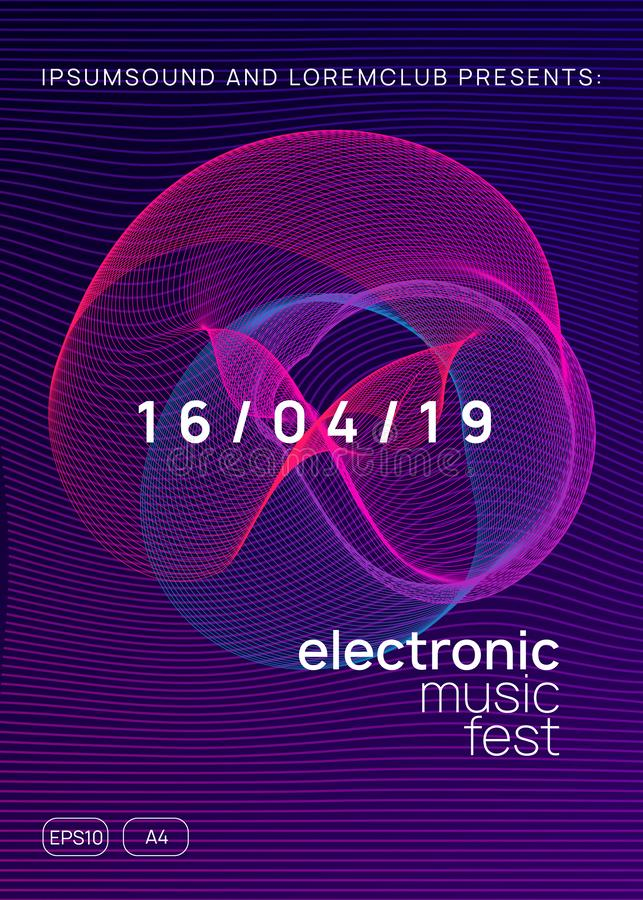 Neon club flyer. Electro dance music. Trance party dj. Electronic sound fest. Techno event poster. Electronic party. Minimal discotheque brochure design royalty free illustration