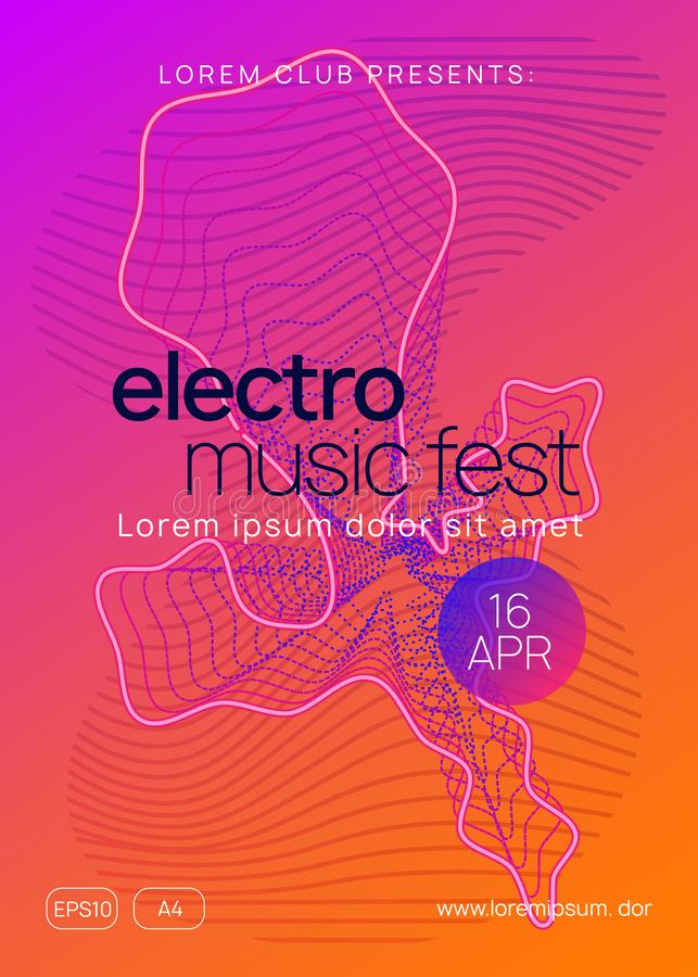 Neon club flyer. Electro dance music. Trance party dj. Electronic sound fest. Techno event poster. Sound flyer. Dynamic gradient shape and line. Trendy vector illustration