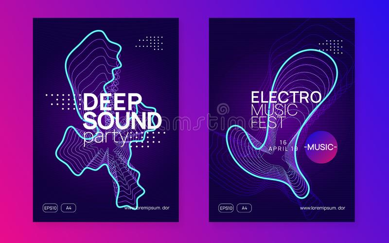 Neon club flyer. Electro dance music. Trance party dj. Electroni stock image