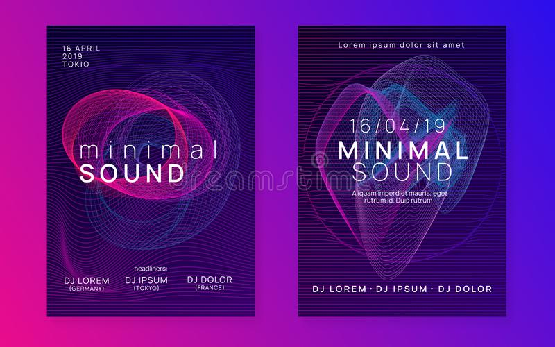 Neon club flyer. Electro dance music. Trance party dj. Electronic sound fest. Techno event poster. Music fest. Trendy discotheque magazine set. Dynamic gradient royalty free illustration
