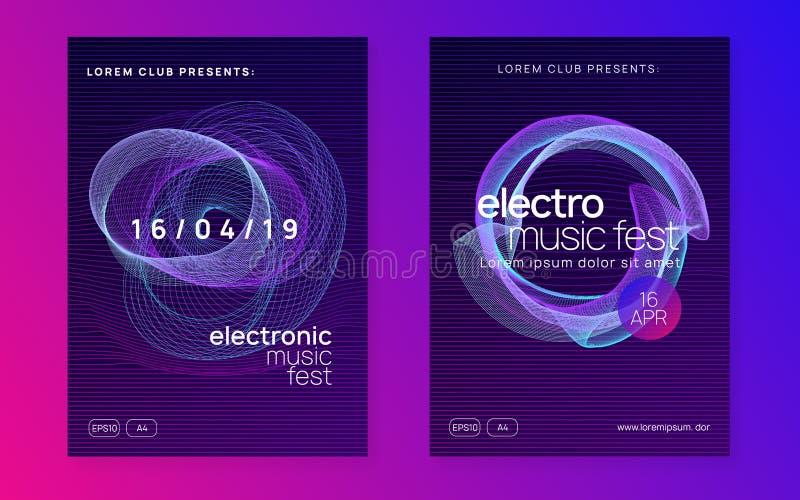 Neon club flyer. Electro dance music. Trance party dj. Electronic sound fest. Techno event poster. Sound flyer. Trendy show banner set. Dynamic gradient shape vector illustration