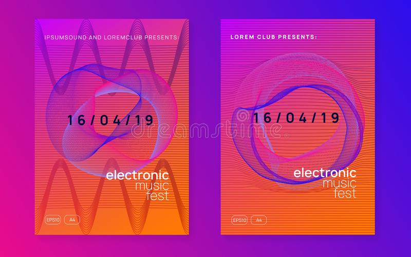 Neon club flyer. Electro dance music. Trance party dj. Electronic sound fest. Techno event poster. Electronic event. Wavy discotheque banner set. Dynamic vector illustration