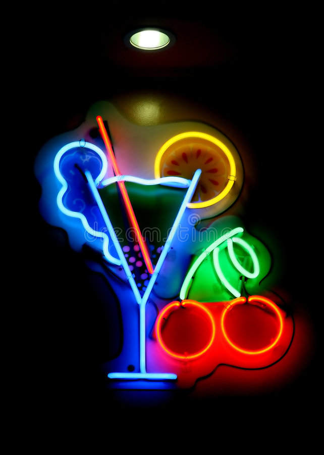 Download Neon Cocktail Sign Royalty Free Stock Image - Image: 1376146