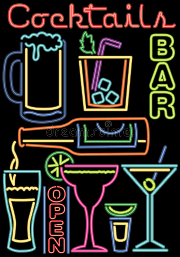 Neon Cocktails/Bar Symbols/ai. Illustration of various bar and alcoholic drink symbols in a neon style vector illustration