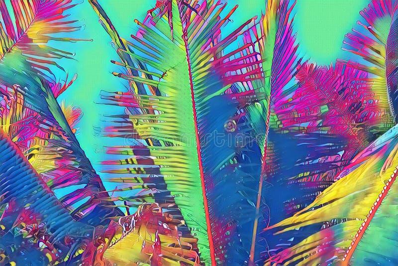 Neon coco palm leaf on blue sky background. Tropical nature vibrant digital illustration. Exotic island landscape. Green palm leaf banner template. Tropical vector illustration