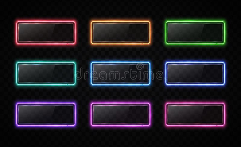 Neon color button set. Glowing line rectangle. Light effect. Glossy glass texture glare banner on transparent background. Web interface infographic internet royalty free illustration
