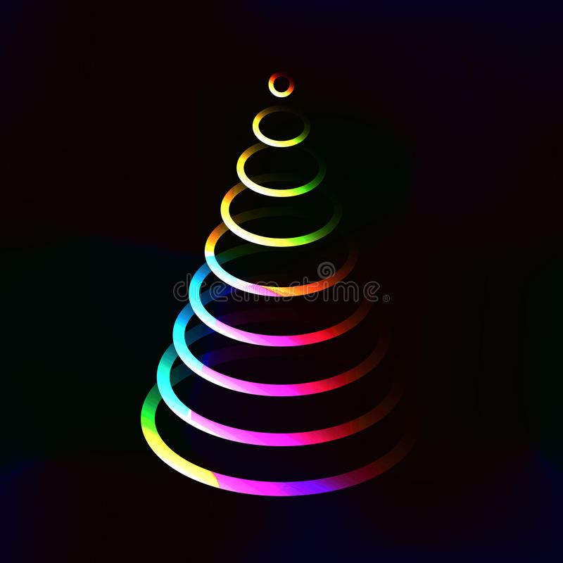 Neon Color Lights Shining Christmas Tree Made From Circle ...
