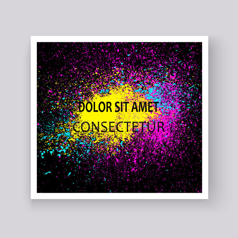 Neon colorful explosion paint splatter artistic covers design. D. Ecorative bright texture splash spray on black backgrounds. Trendy template vector for Cover stock illustration