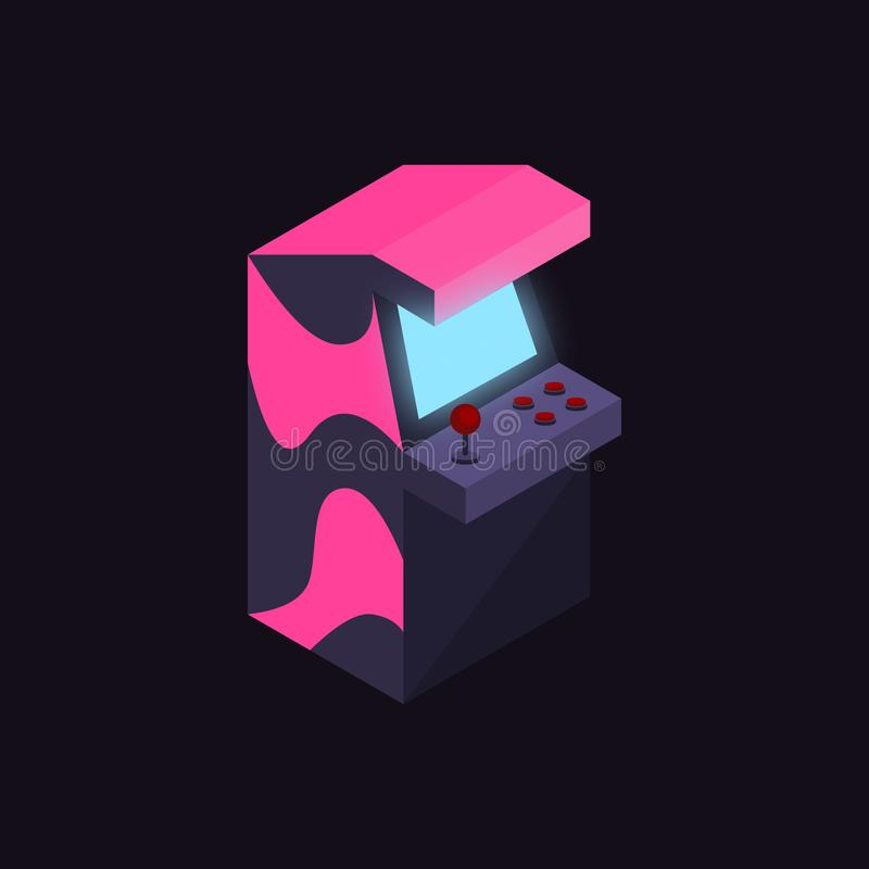 Neon colors 1980s arcade machine isometric illustrate vector stock illustration