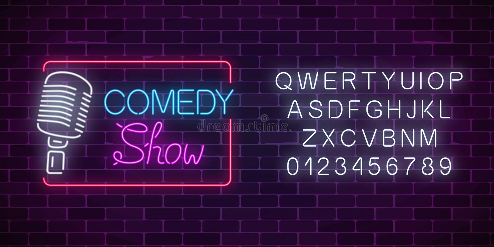 Neon comedy show sign with retro microphone and alphabet. Humor monolog glowing signboard. Neon comedy show sign with retro microphone and alphabet on a brick stock illustration