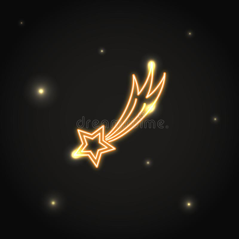 Neon comet icon in thin line style. vector illustration