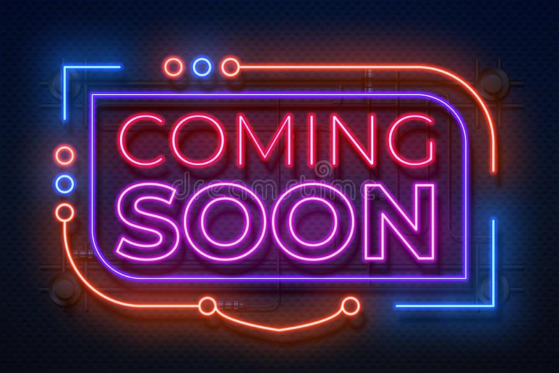 Neon coming soon sign. Film announce badge, new shop promotion glowing element, neon light banner. Vector coming soon vector illustration