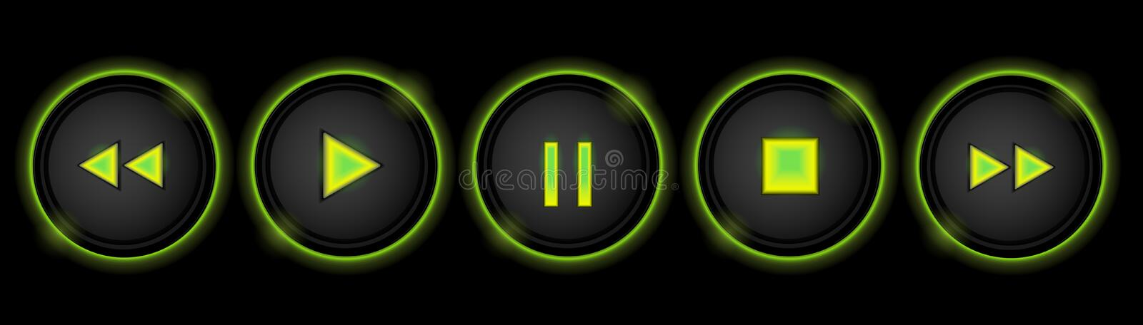 Download Neon control buttons stock vector. Illustration of green - 33459847