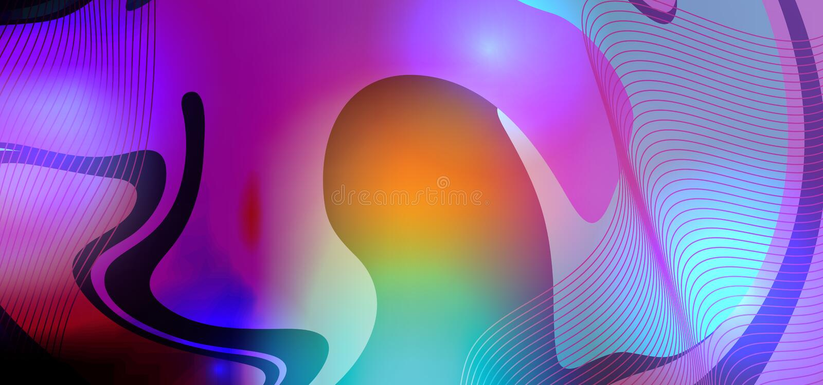 Neon creative fluid trendy futuristic abstract background vector illustration liquid colorful with light. 3d, shape, design, template, bright, modern, graphic royalty free illustration