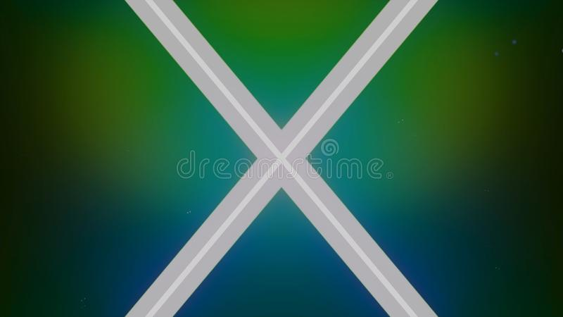 Neon crossed lines, letter X on beautiful gradient background. Animation. White glowing stripes of light, geometric vector illustration