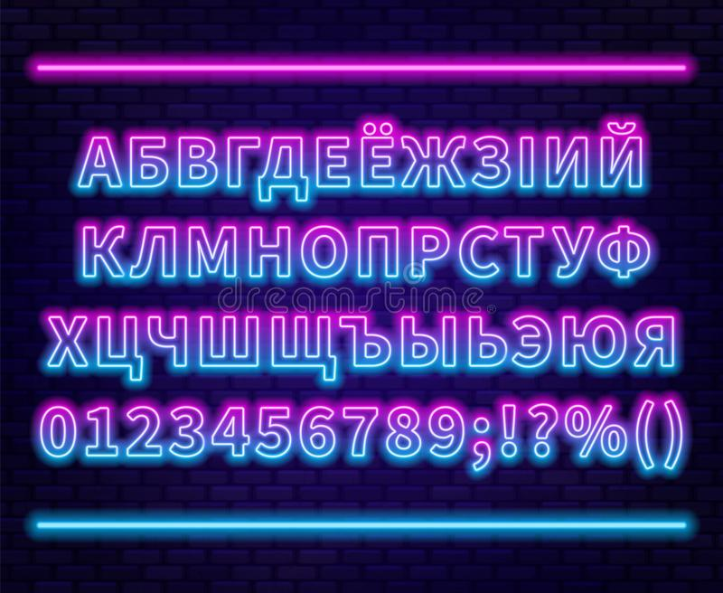 Neon Cyrillic alphabet with numbers on the brick wall background. Can be used for Belarusian and Ukrainian languages. Vector EPS. 10 vector illustration
