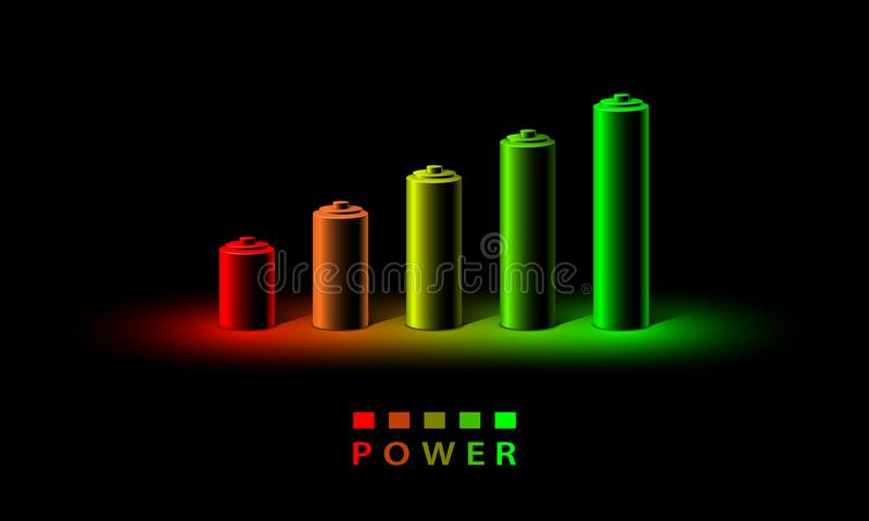 Neon 3D battery charge level indicator. Realistic set of batteries from the small red to the big green in neon light stock illustration