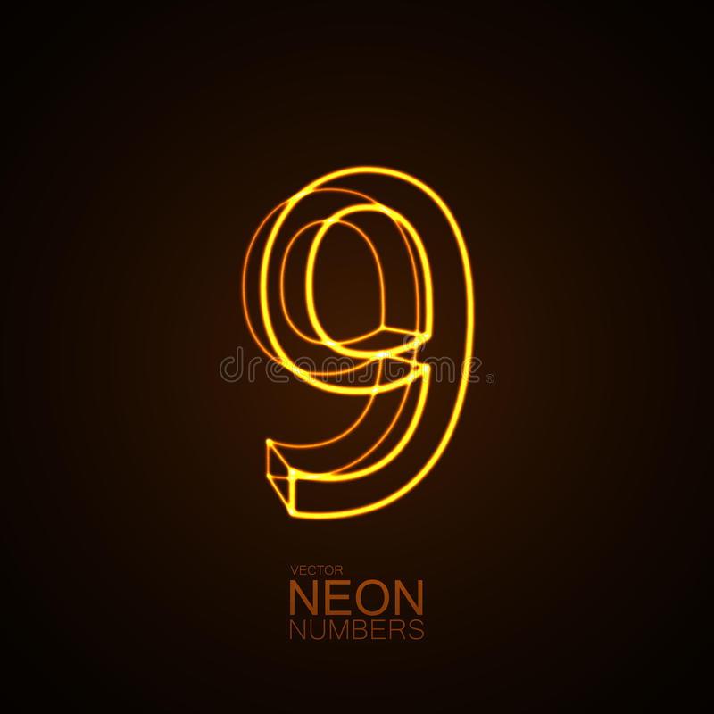 Neon 3D number 9 royalty free illustration